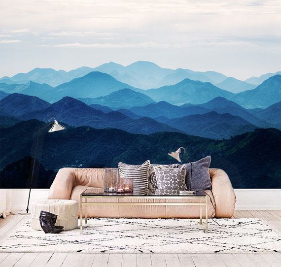 "Misty Mountain Wallpaper Foggy Mountain Silhouette Wall Mural Romantic Smoky Blue Wall Decal Hill Wall Covering Custom Sizing 55"" x 35"""