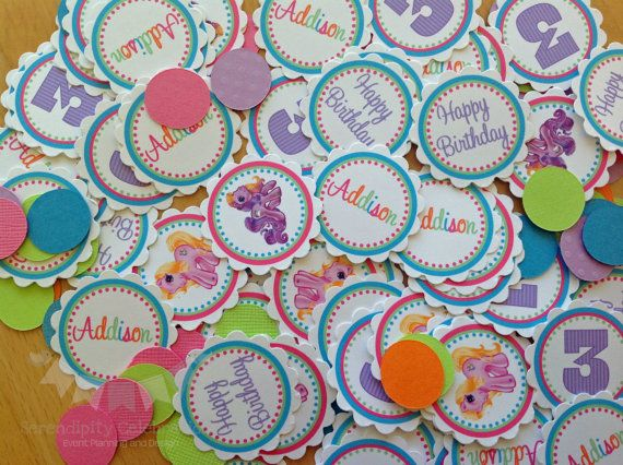 Personalized Table Confetti, My Lil Pony Inspired Confetti -Table Minis -Pony Party -My Lil Pony Birthday -1st Birthday on Etsy, $7.00