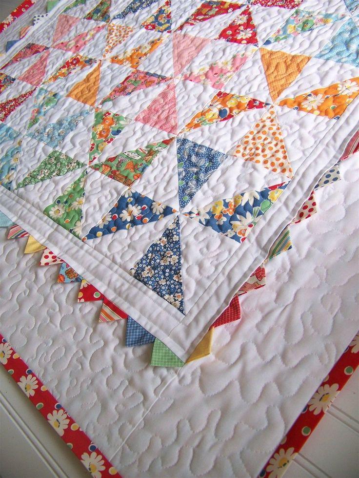 Pinwheel Baby Quilt « Moda Bake Shop. With a prairie point border.