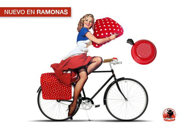 Nuevo en Ramonas: Pack PinUp Look, alforja, timbre y funda cubre-asientos combinados para que tu bicicleta luzca muy años 50's
