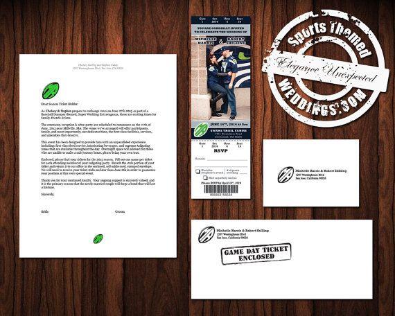 Football Themed Ticket-Style Wedding Invitation for NFL Football Fans.  Check us out on ESTY.  #stwdotcom  #footballwedding