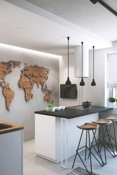 The beautiful 3-D wooden map is both sleek and tactile. The wooden stools bring it further into the room. The overall look is understated and elegant.