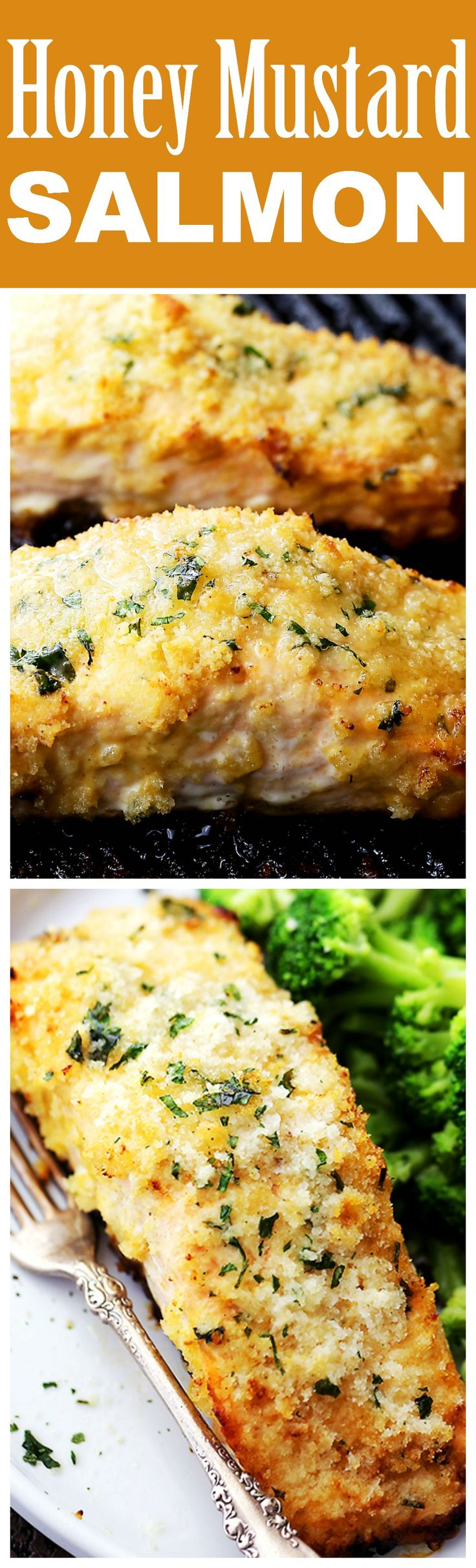 HONEY MUSTARD SALMON! Flavorful and juicy salmon fillets brushed with ...