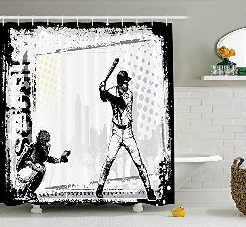 Ambesonne Sports Decor Collection Baseball Themed American Sport Team Rustic Design Silhouette Illustration Image Polyester Fabric Bathroom Shower Curtain Set with Hooks Black and White -- Read more reviews of the product by visiting the link on the image.