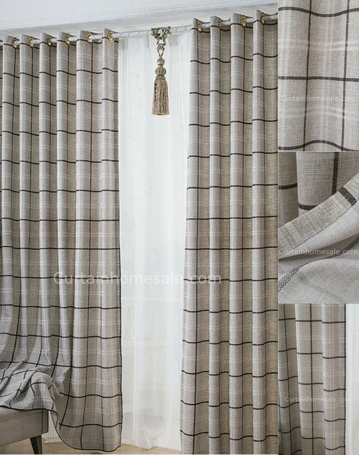 Romantic Plaid Room Darkening Gray Print Prairie Style Curtains