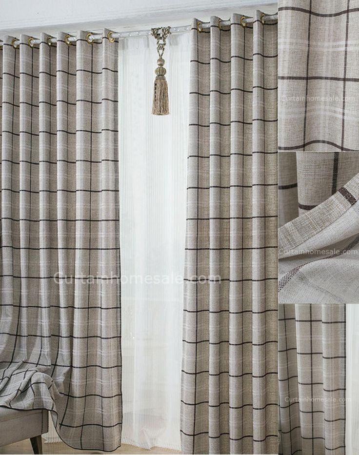Romantic Plaid Room Darkening Gray Print Prairie Style Curtains