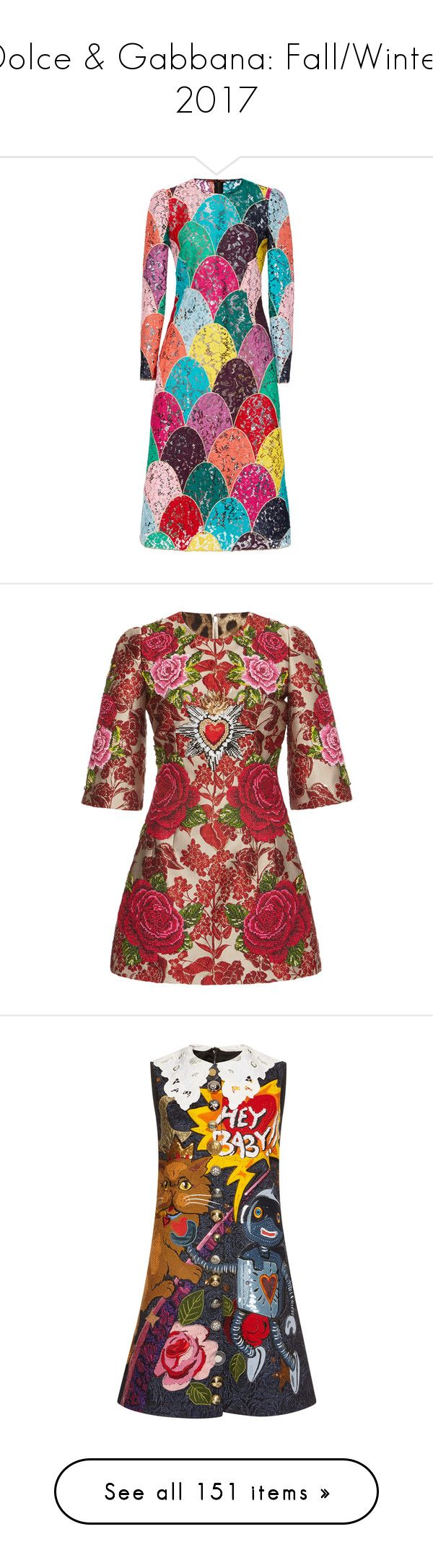 """Dolce & Gabbana: Fall/Winter 2017"" by jckyleeah ❤ liked on Polyvore featuring dolcegabbana, fallwinter2017, jckyleeahfw17, dresses, multi, long sleeve crew neck dress, multi color dress, multi-color dresses, crew neck dress and lacy dress"