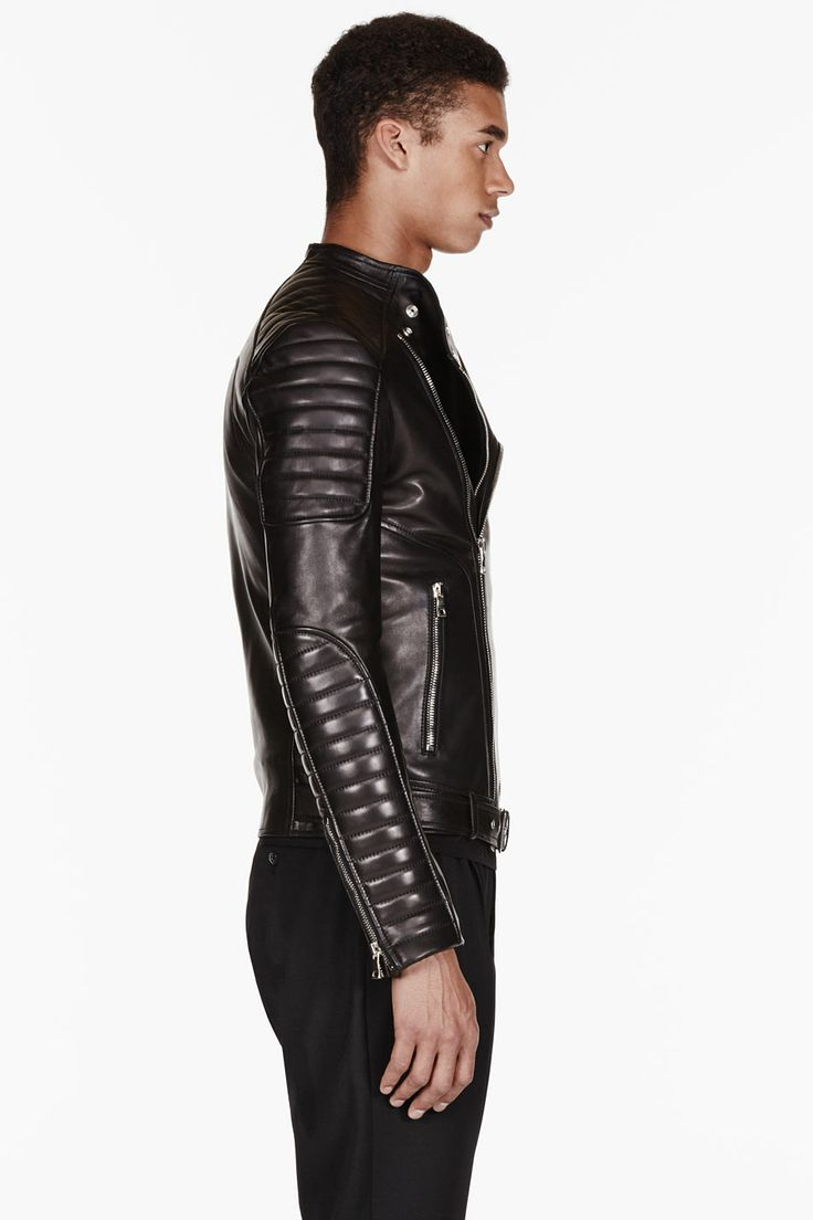 BALMAIN Black LEATHER ribbed Biker JACKET, Men's Fall Winter Fashion.
