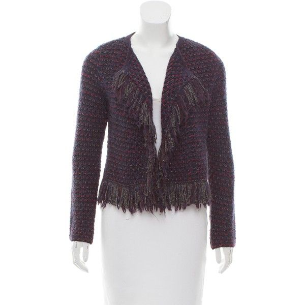 Pre-owned Maje Fringe-Trimmed Knit Cardigan ($85) ❤ liked on Polyvore featuring tops, cardigans, blue, fringe tops, colorful cardigan, blue cardigan, multi color cardigan and blue long sleeve top