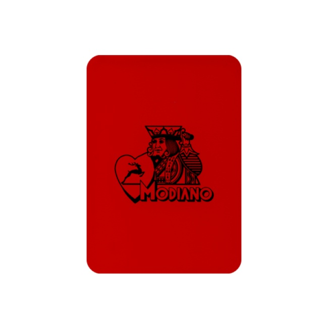 Modiano cut card poker size, kleur rood, afmetingen (63 mm x 88 mm), zeer duurzaam en gemaakt van 100% PVC met aan twee zijden het Modiano logo in zwarte opdruk. www.pokerwinkel.nl/poker-kaarten.html