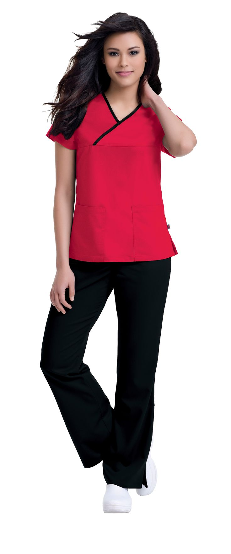 """Urbane Ultimate's 9407 """"Mandi"""" top is now avaiable in """"True Red""""! #urbane #scrubs #medical #uniforms #style #hospital #nurse #vet #tech #dental #health #red #pink #february #valentine"""