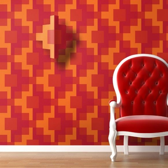 3d wall design paper red chair dream home pinterest for Red wallpaper designs for walls