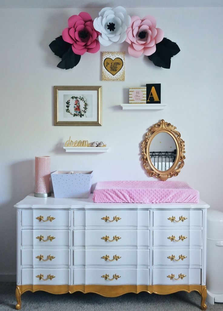 Black and white, pink and gold nursery