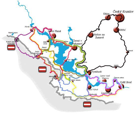 Lipenské cyklostezky, celková mapa