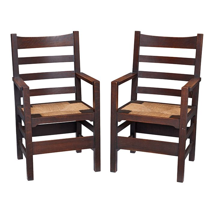 Gustav Stickleyarmchairs, Pair, Eastwood, NY Oak, Rush Signed With Stickley  In The Box Early 23