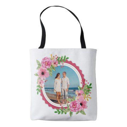 Elegant Add Your Own Photo Wedding Tote Bag - anniversary cyo diy gift idea presents party celebration