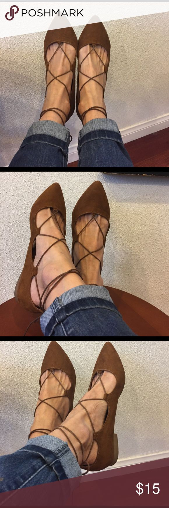 Massimo brown flats 8 Sued brown tie ankle flats. In great conditions size 8. Great with jeans or dress. Mossimo Supply Co Shoes Flats & Loafers