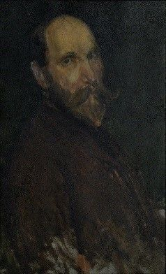 1890: On his first trip to London, Freer meets American artist James McNeill Whistler (1834¬–1903) in person and becomes an enthusiastic collector of his work. This mutually beneficial relationship between collector and artist eventually leads to the founding of the Freer Gallery. This work by Whistler is the only portrait of Freer to enter the museum's collection.  Portrait of Charles Lang Freer; James McNeill Whistler (1834–1903); United States, 1902–3; oil on wood panel; Gift of Charles…