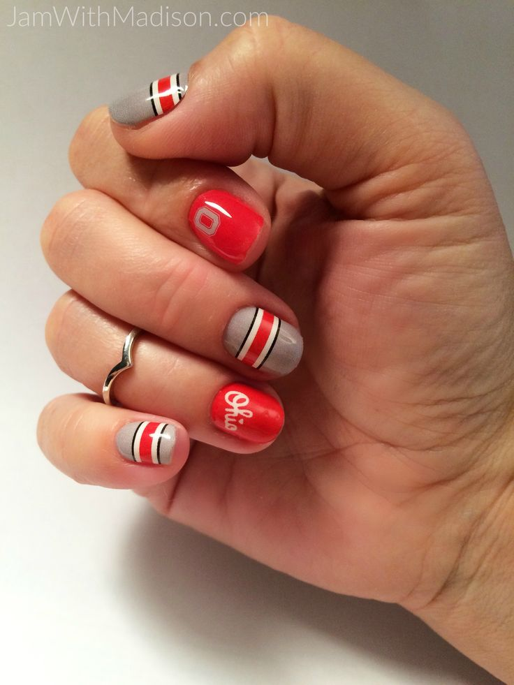 Go BUCKEYES!!!!  I LOVE sporting my scarlet and grey nail wraps every football…