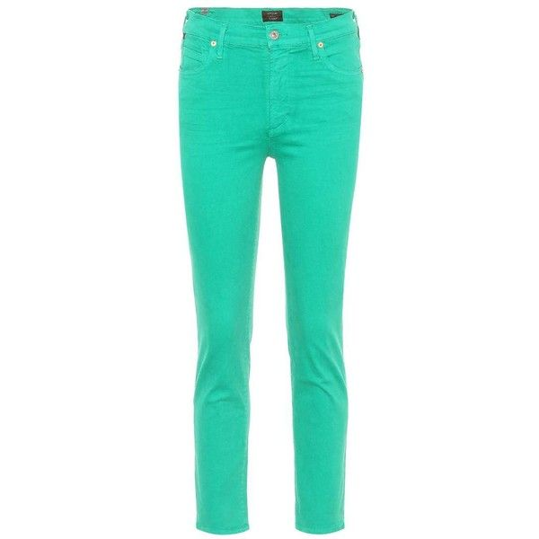 Citizens of Humanity Cara High-Waisted Cigarette Jeans ($320) ❤ liked on Polyvore featuring jeans, green, mid rise jeans, high-waisted skinny jeans, high rise skinny jeans, green high waisted jeans, cigarette jeans and high-waisted jeans
