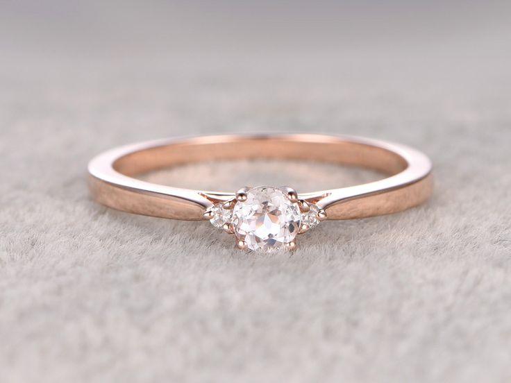 3 stones Morganite Engagement ring Rose gold,Diamond wedding band,14k,5mm Round Cut,Gemstone Promise Bridal Ring,Plain gold matching band by popRing on popRing
