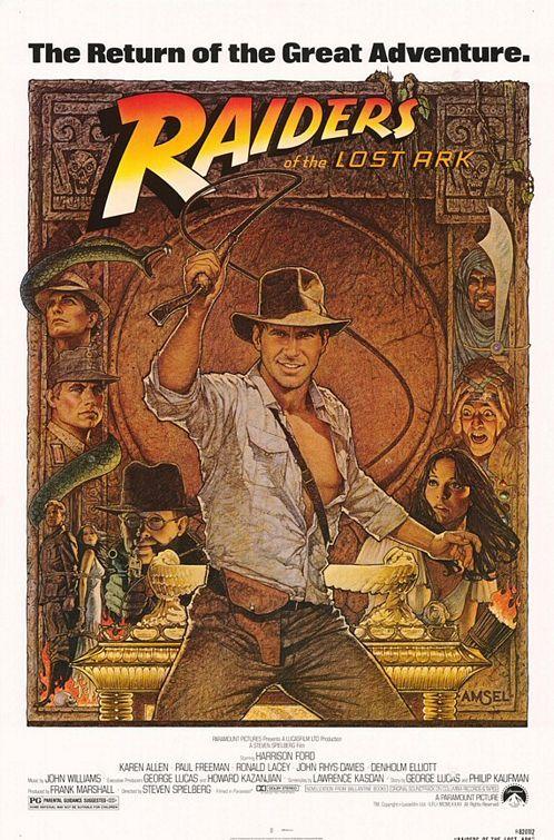Raiders of the Lost Ark (1981), directed by Steven Spielberg, starring Harrison Ford, Karen Allen, Paul Freeman, Ronald Lacey, John Rhys-Davies and Denholm Elliott