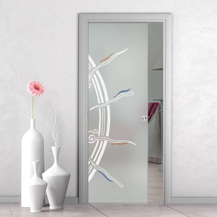 eclisse 10mm stargate murano design on clear or satin glass pocket door