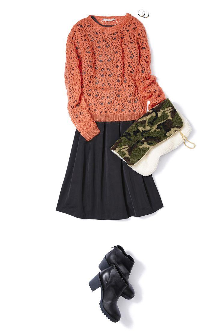 タフタ素材のスカートで艶感のある爽やかニットスタイル! ― B