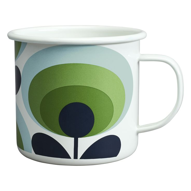 Perfect for the garden or picnics, this 70's flower enamel mug by Orla Kiely manages to be stylish AND practical and with it's retro inspired design, your morning cuppa never tasted so good.
