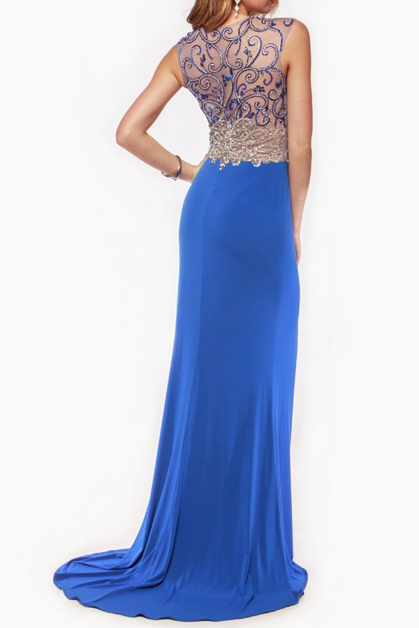 Unique sequined pattern with sheer inset evening gown. Features: Sequined Pattern Sheer Inset High Slit V-Cut neckline Floor Length Occasion Wedding Prom Pageant Color Royal blue Nude