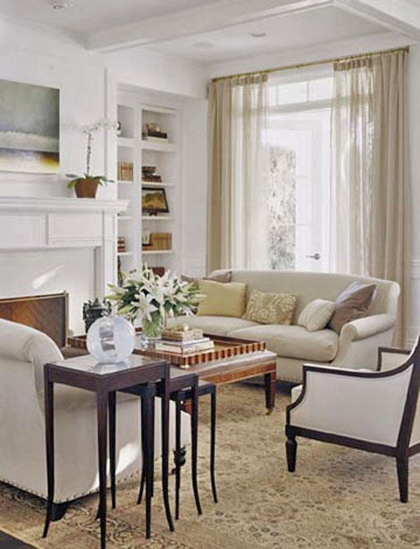Sheer neutral curtains, looks good with white walls