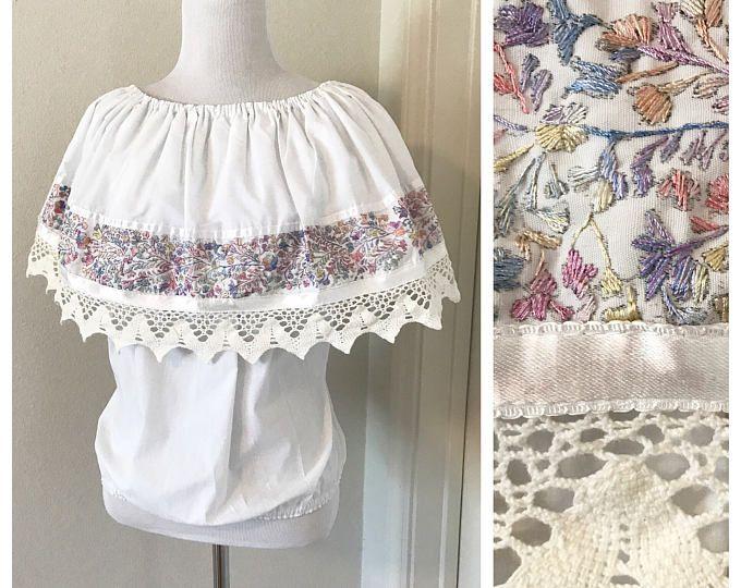 Vintage White Cotton Boho Blouse. Vintage Off The Shoulder Summer Blouse. Vintage Mexican Embroidered Blouse. Vintage White Peasant Blouse.