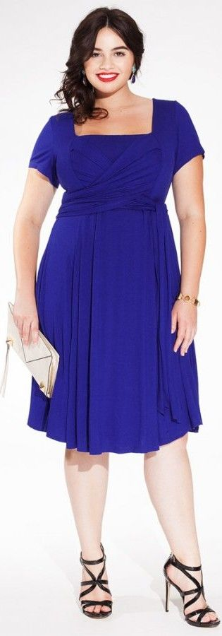Royal blue, short, casual party dress plus size - cute square neckline -  Igigi - http://www.boomerinas.com/2012/10/22/holiday-party-dresses-christmas-red-not-only-choice/
