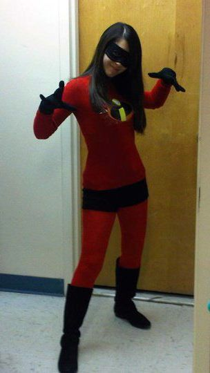 incredibles - red tights, red shirt, black shorts, add logo, black gloves