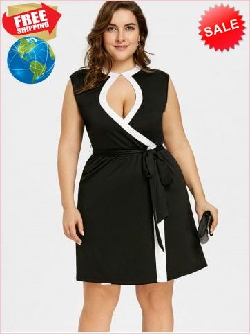 275a44233b8 Best Prices Plus Size Contrast Trim Keyhole Neck Sleeveless Dress 2144428  86GRZnNHo0cqrXt1vDE2 Cheap Sale  RoseGal.com