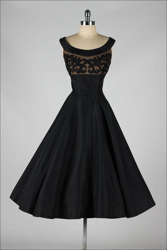Черные винтажные платья, 1950-е.