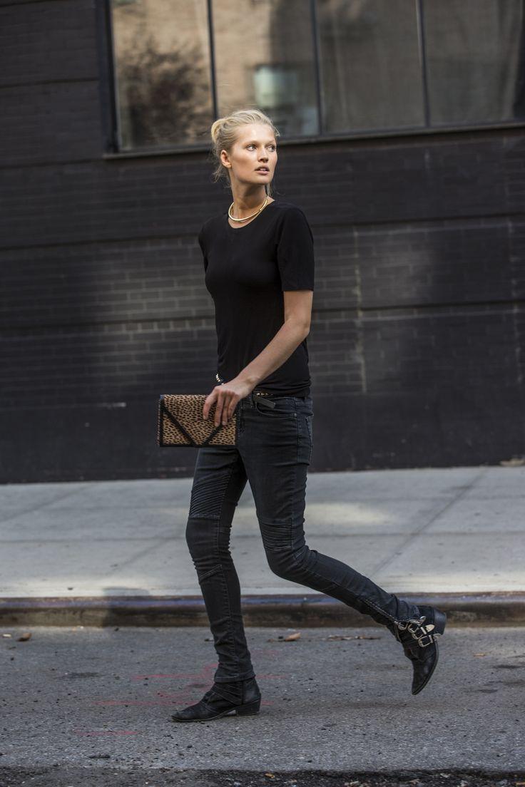 Model Garrn wearing the Toni Jeans in NYC
