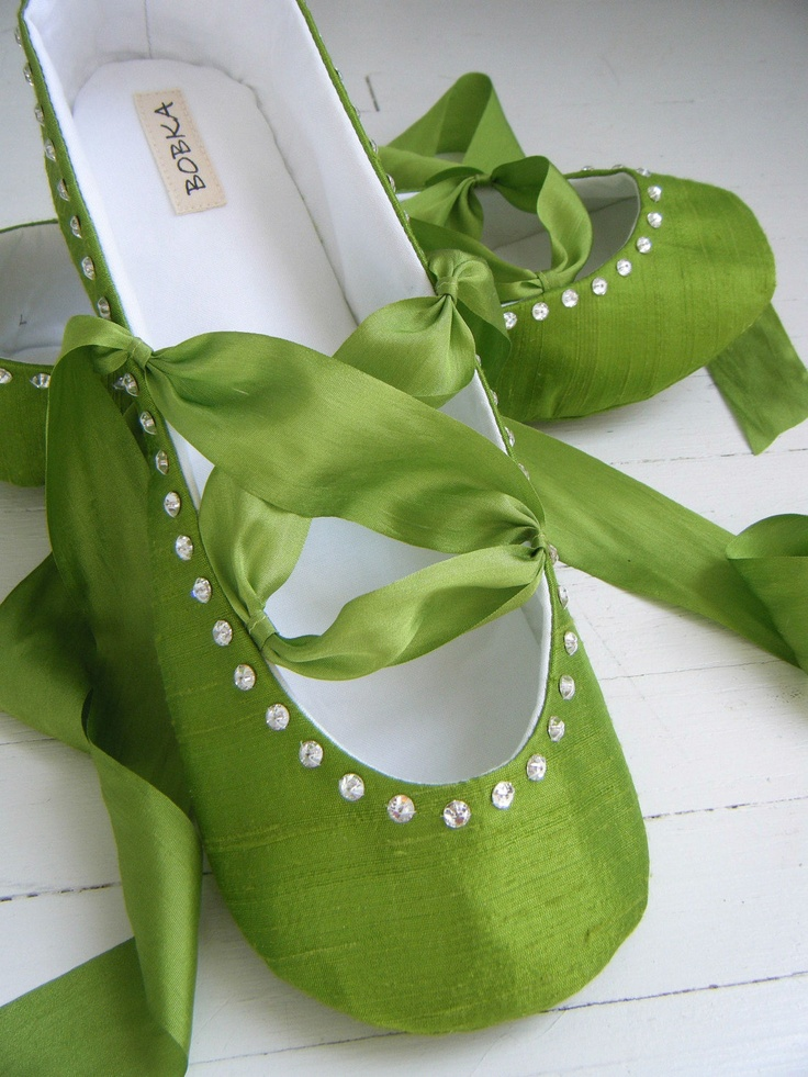 Apple Green Ballet Shoes, SABRINA Wedding Shoes, Flower Girl Flats by Bobka Baby. $185,00, via Etsy.