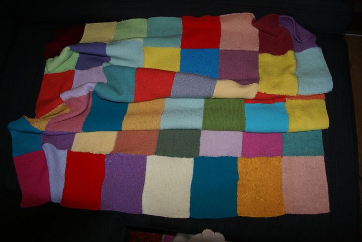 Knitted Patchwork Blanked - Knitting creation by Melanie   Knit.Community