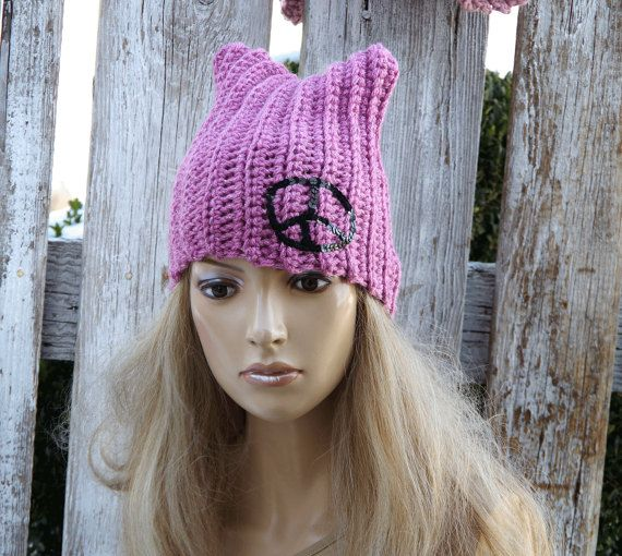 Pussyhats Beanie Hat PINK Peace sign pussy hat march by Degra2
