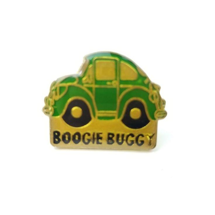 Boogie Buggy VW Bug Volkswagen Beetle Green Car Vintage 1986 Enamel Tack Post Lapel Pin #AGB