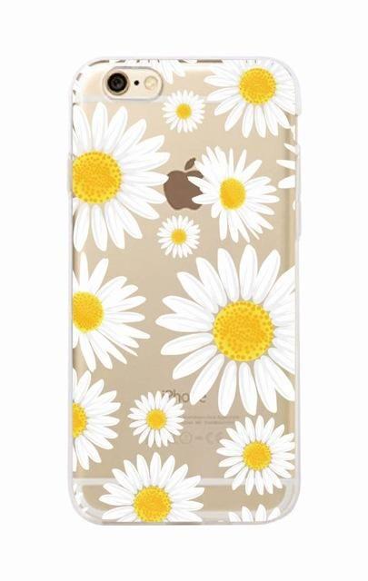 Cute Summer Daisy Sunflower Floral Flower Soft Clear Phone Case Fundas Coque For iPhone 7 7Plus 6 6S 6Plus 8 8PLUS X SAMSUNG