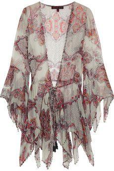 Kate Moss for Topshop Haut en mousseline à imprimé cachemire avec ornements | NET-A-PORTER