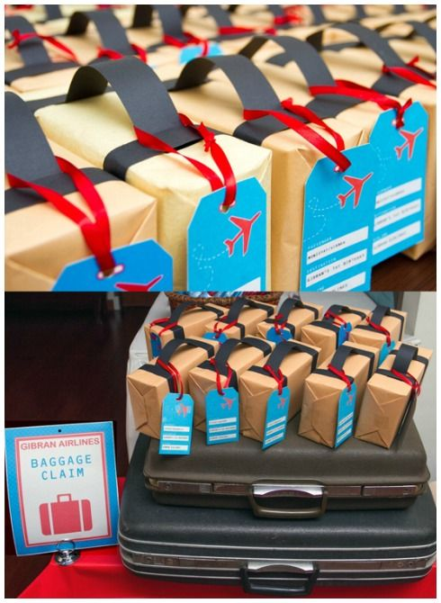 Baggage favor box's, great for airplane or travel parties. Click here for the full details: http://smartpartyplanning.com/5-awesome-airplane-party-ideas/ #AirplaneParty #BoysParties