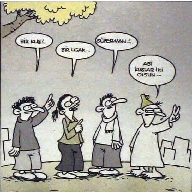 - Bir kuş!..  + Bir uçak...  - Süperman!..  + Abi kuşlar iki olsun...  #karikatür #mizah #matrak #komik #espri #şaka #gırgır #komiksözler #hunili