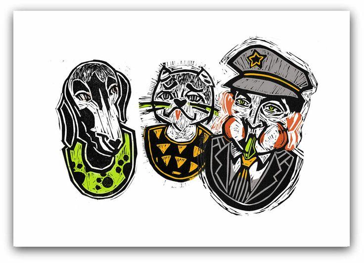 illustration: Oliwia Smołuch author of book: Wanda Chotomska, #linocut #lino #illustration