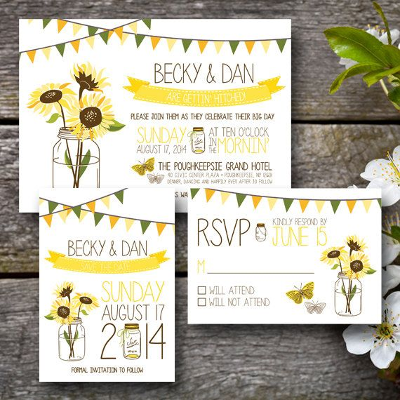 Sunflower Wedding Invitation Suite  PRINTABLE by ChaudyDesigns, $30.00