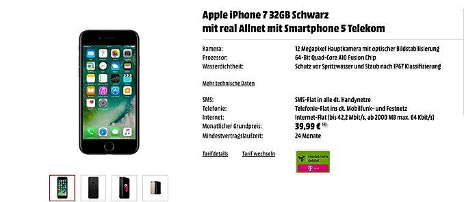 Telekom real Allnet mit Vertrag Apple iPhone 7 32GB mit 14,87 € rechnerische monatliche Grundgebühr in der real Allnet inkl. 2GB LTE Internet-Flatrate bis 42,2 Mbit/s, Telefon Allnet-Flat und eine SMS-Flat ins deutsche Handynetz mit 39,99€ Grundpreis/Monat im Netz der Telekom.