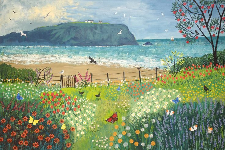 Garden Beside the Sea - acrylic on a 36 x 24 inch massive canvas. Need to photograph, seal and varnish. (Sold)