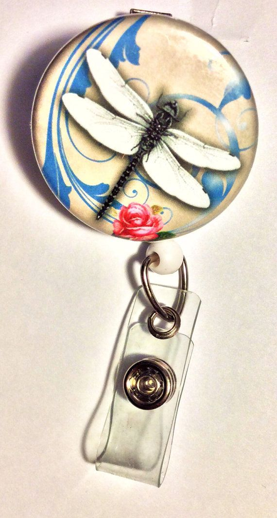 Dragonfly Retractable Badge Reel by SquirrelsSecret on Etsy